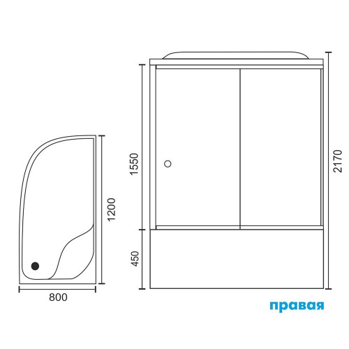 Душевая кабина Royal Bath 8120BК4-WC-СН