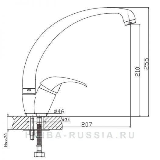 Смеситель для кухни Haiba HB15-k арт.HB4115-k