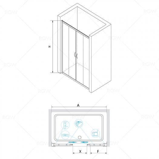 Душевая дверь RGW Passage PA-11 1400х1950 прозрачное