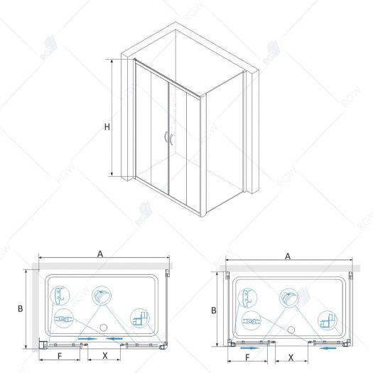 Душевой уголок RGW Passage PA-41 1400x900 прозрачное