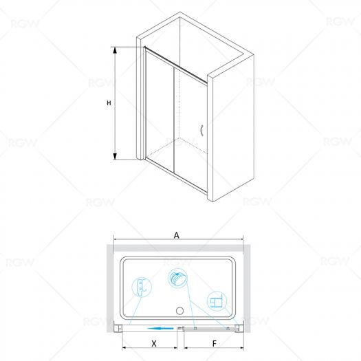 Душевая дверь RGW Passage PA-12 1400х1950 прозрачное