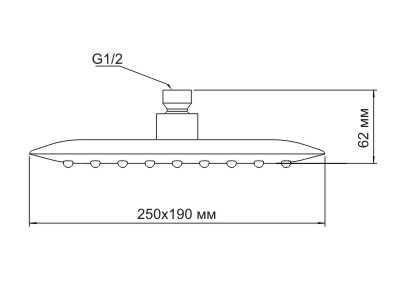 Верхний душ WasserKRAFT A031, 250x190 мм