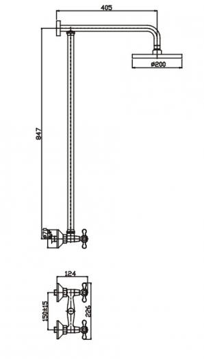 Душевая система HAIBA HB2413 с изливом и ручной лейкой