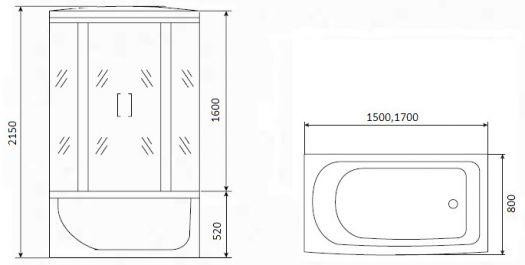 Душевая кабина Timo Eco TE-0770 168x80