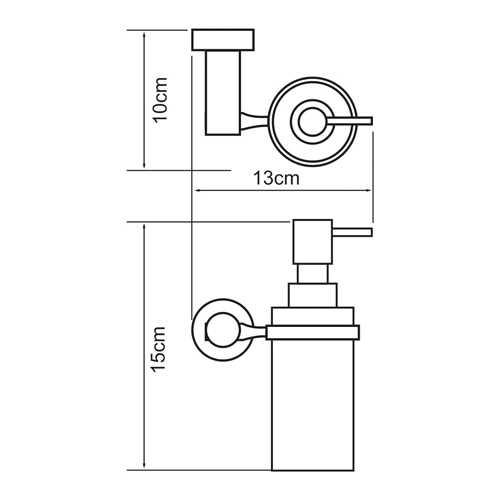 Дозатор стеклянный с держателем WasserKRAFT Donau K-9499, 150 мл
