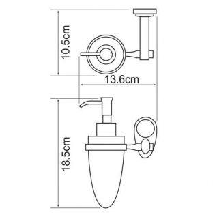 Дозатор стеклянный с держателем WasserKRAFT Main K-9299, 160 мл