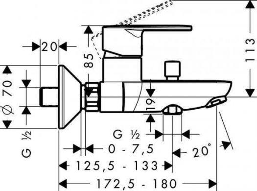 Смеситель для ванны и душа Hansgrohe Talis E2 (31642000) однорычажный