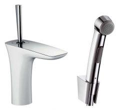 Смеситель для раковины Hansgrohe PuraVida 110 белый/хром (15275400) с гигиеническим душем