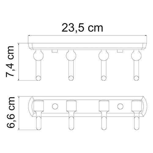 Крючок настенный WasserKRAFT Oder K-3074, 4 крючка
