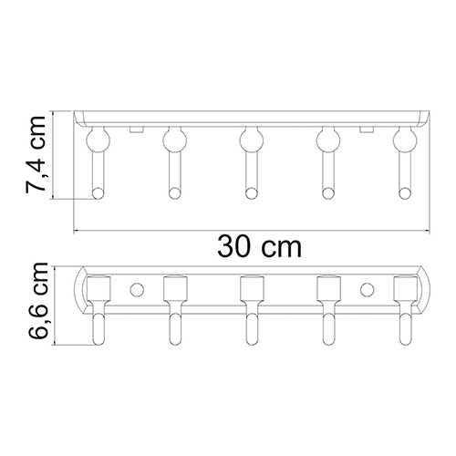 Крючок настенный WasserKRAFT Oder K-3075, 5 крючков