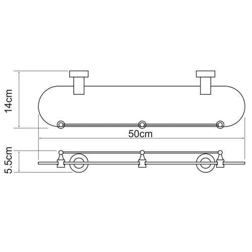 Полка стеклянная WasserKRAFT Donau K-9444, с бортиком
