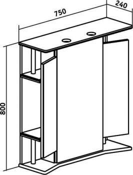 Зеркало-шкаф навесной Runo Валенсия 75 правый