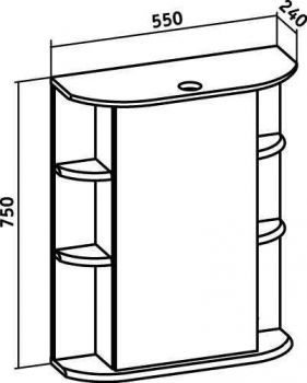 Зеркало-шкаф навесной Runo Гиро 55 правый