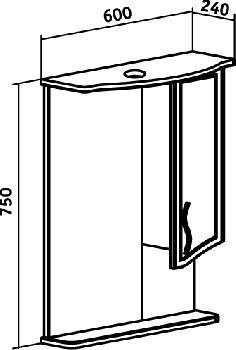 Зеркало-шкаф навесной Runo Севилья 60
