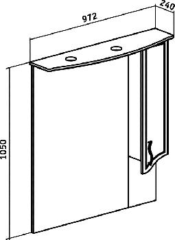 Зеркало-шкаф навесной Runo Севилья 95