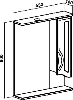 Зеркало-шкаф навесной Runo Толедо 65 правый