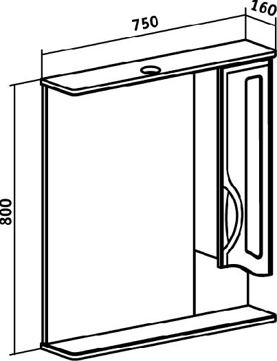 Зеркало-шкаф Runo Толедо 75 правый