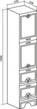 Шкаф-пенал Runo Кантри 32 правый белый