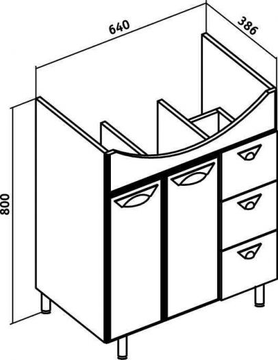 Тумба с раковиной Runo Лидия 70 3 ящика