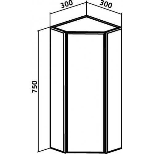 Шкаф навесной Runo Кредо 30 угловой с зеркалом