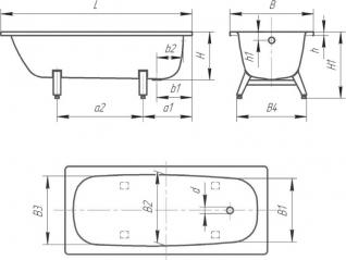 Стальная ванна ВИЗ Donna Vanna 170х75 с антибактериальным покрытием, белая