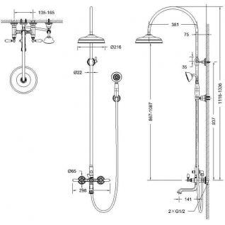Душевая колонна со смесителем для ванны Bravat Art с изливом