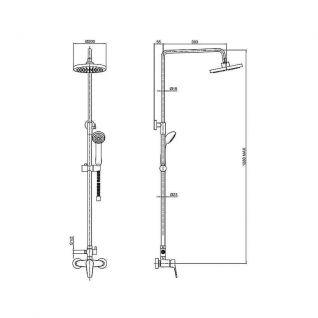 Душевая колонна со смесителем для ванны Bravat Opal C