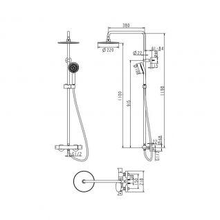 Душевая колонна со смесителем для ванны Bravat Waterfall термостат с изливом F939114C-A-RUS