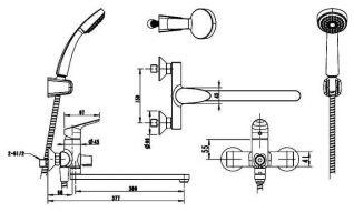 Смеситель Bravat Drop F64898C-LB для ванны