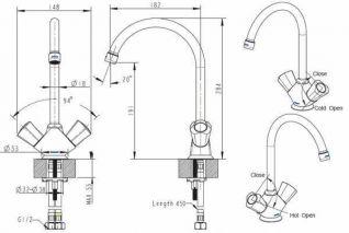 Смеситель Bravat Duo F7133186CP-RUS для кухонной мойки