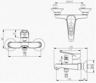 Смеситель Bravat Eco-D F693158C-B для ванны и душа