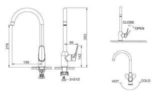 Смеситель Bravat Eler F7191238CP-RUS для кухонной мойки