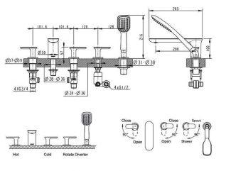 Смеситель Bravat Gina F565104C-RUS для ванны