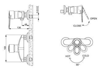 Смеситель Bravat Loop F9124182CP-01-RUS для душа
