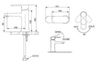 Смеситель Bravat Opal F1125183CP-RUS для раковины