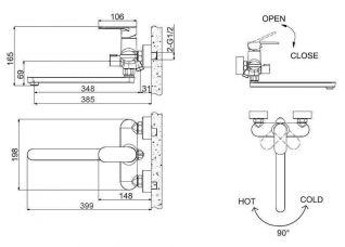 Смеситель Bravat Opal F6125183CP-02L-RUS для ванны