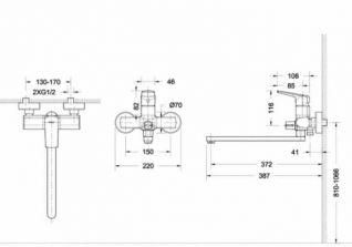 Смеситель Bravat Real F6121179CP-01L для ванны и душа с длинным изливом