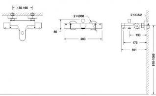Смеситель Bravat Stream F63984C-01B для ванны термостатический