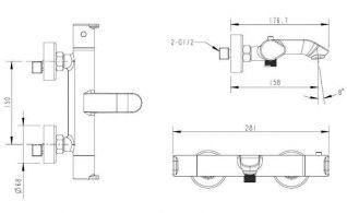 Смеситель Bravat Waterfall F673114C-01 для ванны термостатический