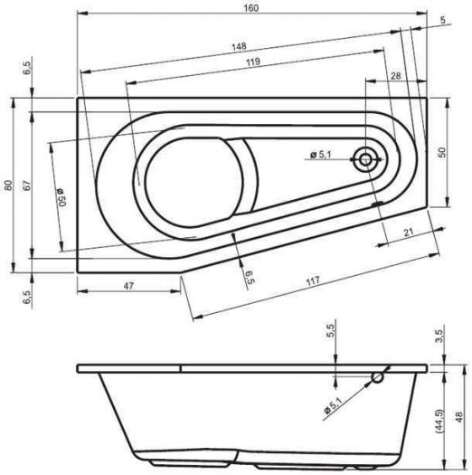 Акриловая ванна Riho Delta 160x80 L/R