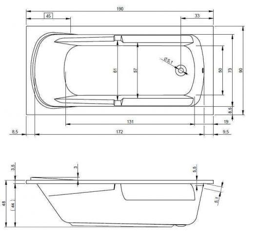 Акриловая ванна Riho Future XL 190x90