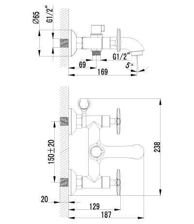 Смеситель Lemark plus Spirit LM1912C для ванны и душа