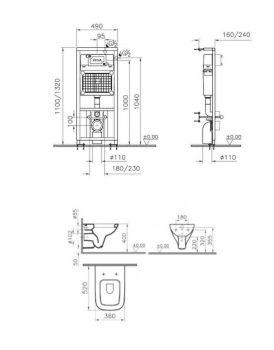 Комплект унитаз Vitra S20 9004B003-7204 с инсталляцией