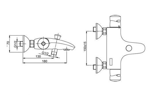 Смеситель Jacob Delafon Stomb E71071-CP для ванны и душа термостатический с эксцентриками