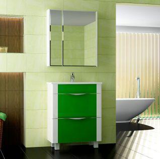Тумба под раковину Vigo Laura 70, Laura-2-700 с фасадом Ф2-3-700, цвет светло-зеленый