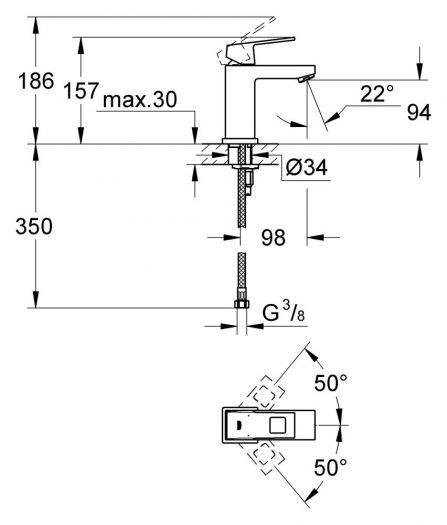 Смеситель Grohe Eurocube 23132000 для раковины, S-Size