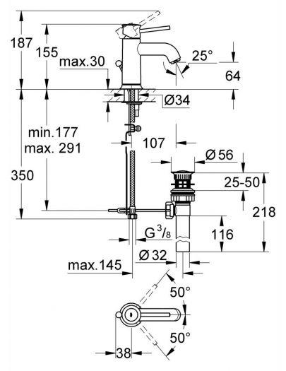 Смеситель Grohe BauClassic 23161 для раковины
