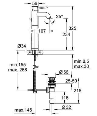 Смеситель Grohe BauClassic 32868000 для раковины, высокий