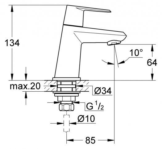 Вертикальный вентиль Grohe Eurodisc Cosmopolitan 23051002