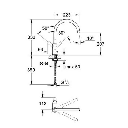 Смеситель для кухонной мойки Grohe BauFlow 31230000